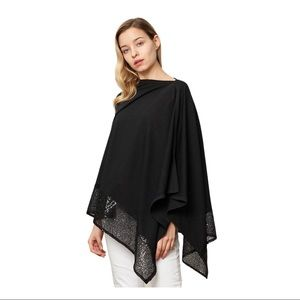 Black With Sequins Pullover Cape